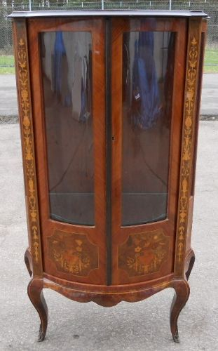 Inlaid Walnut China Display Cabinet